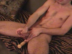 Picture Jerks his cock while dildoing his ass