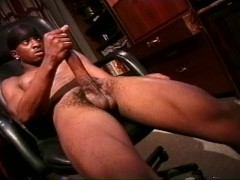 Picture Gangster black guy strokes his massive meat...
