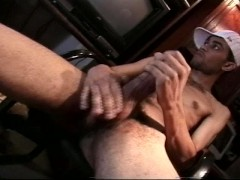 Picture Straight black guy cums on himself