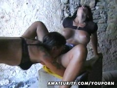 Picture Amateur outdoor threesome with facial cumsho