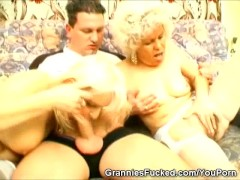 Picture Two Grannies Share One Cock