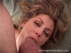 Picture Camila sucks two men off with anal, dicks in...