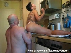 Picture Fisting my wifes huge pussy in the kitchen