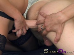 Picture StrapOn Pegging scene with blonde Young Tran...