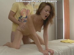 Picture Hot chick hardly fucked on massage table wit...