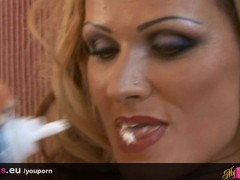 Picture Sharon Pink milf covers her tits in whipped...