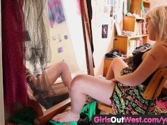 Picture Girls Out West - Hairy Australian blonde toy...