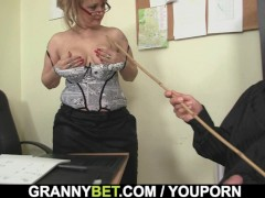 Picture Sexy old women rides his cock in the office