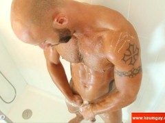 Picture Aymeric s huge cock hard in a shower