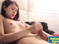 Picture Adorable asian tgirl tugging away in solo fu