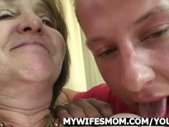 Picture Mother-in-law rides young cock and wife come...