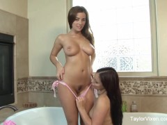Picture Bath Time With Aria Giovanni and Taylor Vixe