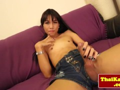 Picture Posing asian tranny playing with her cock