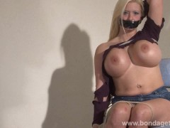 Picture Lesbian bondage of Melanie Moon in tape gagg...