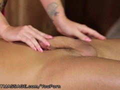 Picture Curvy Redhead Massages Clients Perineum