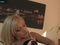 Picture Blonde office girl Lea Lexis spend her break...
