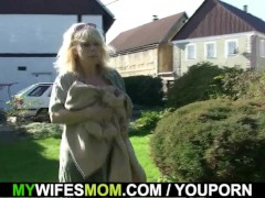Picture Doggy-fucking old blonde mother inlaw outdoo