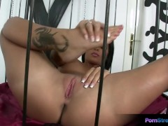 Picture Adorable Black Angelika masturbates in a cag