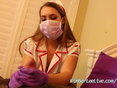 Picture Nurse Kimber Lee Gives Handjob in her Purple...