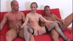Blonde does a scene with 2 guys 3/4