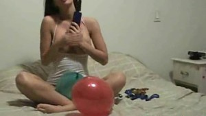 Solo girl masturbate and play with balloons