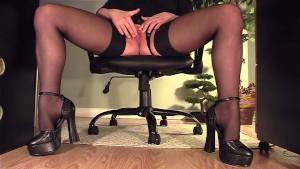 Secretary under desk masturbation