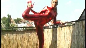 Pornstar Sandy in red spandex wear