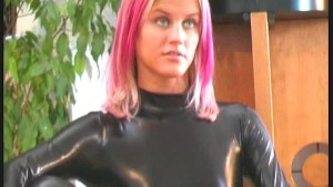 Beautiful Cynthia in shiny spandex