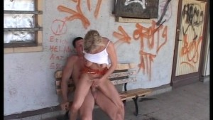 Blonde being bench pressed at 125 lbs. by his cock