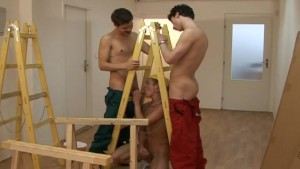 Twink bareback fun with ladders