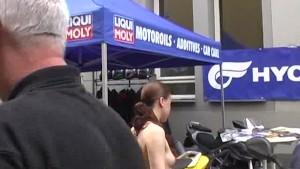 Sweet brunette shows her hot body in public