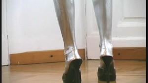 Pornstar Eva complete painted in silver