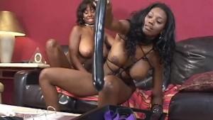 Nasty Black Lesbians Fuck With Huge Dildos
