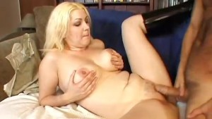 Chubby busty blonde babe banged