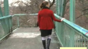 Pissing On Bridge Stairs - In Public