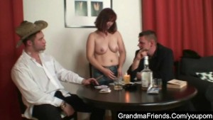 Old babe looses in poker and must pleases two guys