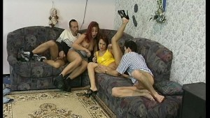 ugly couch causes 2 couples to fuck each other in wild frenzy