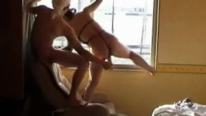Kinky couple window fuck