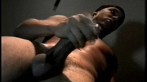 Big-Black-Cock Cums After Getting Stroked
