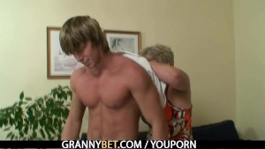 Young stud hammering old pussy