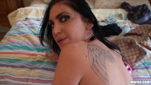 Hot big-tit brunette demands cock by man caught pe
