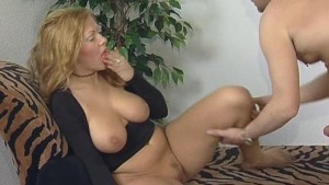 Busty blonde gets cummed on - Inferno Productions