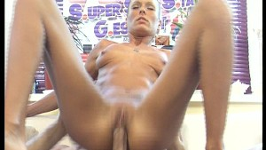 Slim blonde gets a chinful of cum - DBM Video