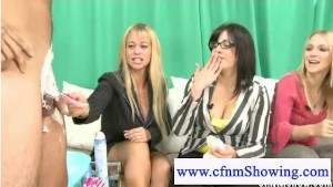 Cfnm ladies are shaving a hairy cock