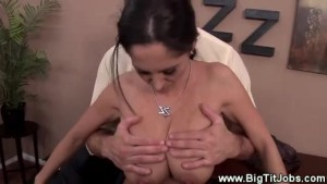 Office babe gets hot for boss with her big tits