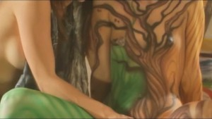 Painted bodies fingering naked