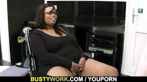 Huge titted black fatty rides white meat