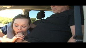 HOT horny babe with perfect natural-tits sucks & fucks in the car