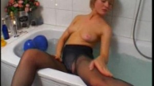Blonde amateur wife toying and masturbating in her bathroom