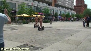 Hot Agnes and crazy Linda naked on public streets